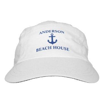 Beach Themed Nautical Beach House Family Name Anchor Headsweats Hat