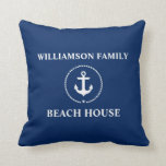 "Nautical Beach House Family Name Anchor Navy Blue Throw Pillow<br><div class=""desc"">Nautical Beach House Family Name Anchor Navy Blue Throw Pillow</div>"
