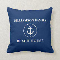 Nautical Beach House Family Name Anchor Navy Blue Throw Pillow