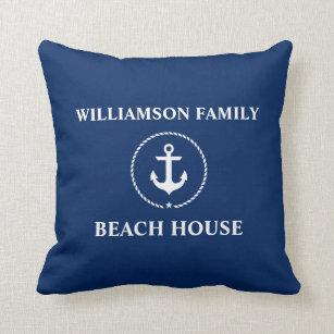 Nautical Beach House Family Name Anchor Navy Blue Throw Pillow