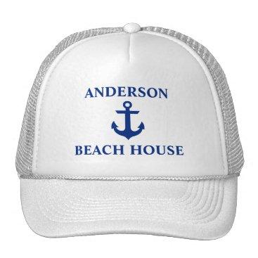 Beach Themed Nautical Beach House Family Name Anchor White Trucker Hat