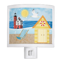 Nautical Beach Huts Night light Ocean Lighthouse