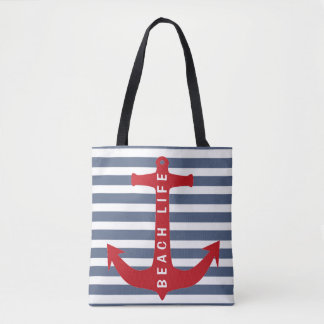 Nautical Beach Life Tote - Red Anchor