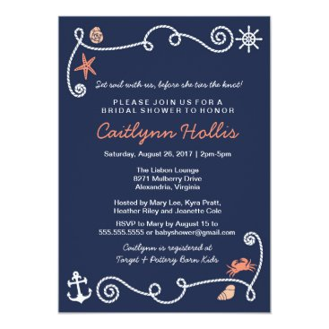 Beach Themed Nautical Beach Navy & Coral Bridal or Baby Shower Card