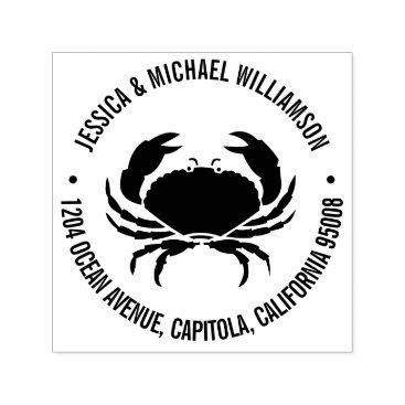 Beach Themed Nautical Beach Ocean Crab Return Address Self-inking Stamp