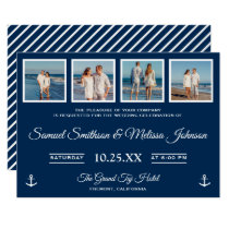 Nautical Beach Photos Navy Blue Wedding Invitation
