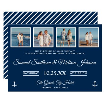 Beach Themed Nautical Beach Photos Navy Blue Wedding Invitation