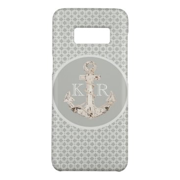 Beach Themed nautical beach preppy grey white anchor Case-Mate samsung galaxy s8 case