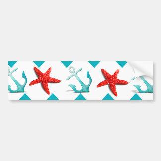 Nautical Beach Red Teal Chevron Anchors Starfish Bumper Sticker