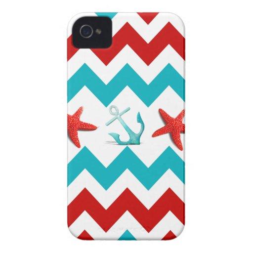 Nautical Beach Red Teal Chevron Anchors Starfish Case-Mate iPhone 4 Case