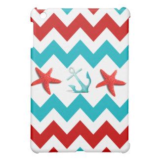 Nautical Beach Red Teal Chevron Anchors Starfish Cover For The iPad Mini