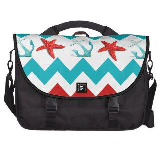 Nautical Beach Red Teal Chevron Anchors Starfish Laptop Bag