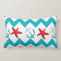 Nautical Beach Red Teal Chevron Anchors Starfish Lumbar Pillow