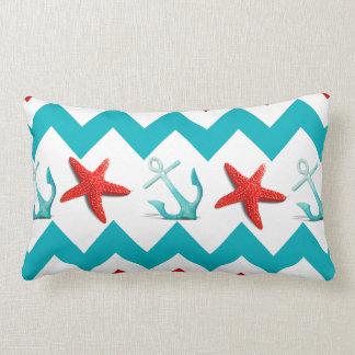 Nautical Beach Red Teal Chevron Anchors Starfish Throw Pillows