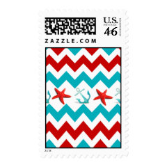Nautical Beach Red Teal Chevron Anchors Starfish Stamp
