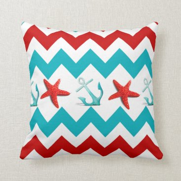 Beach Themed Nautical Beach Red Teal Chevron Anchors Starfish Throw Pillow