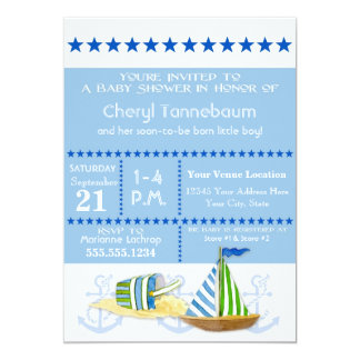 Nautical Beach Sail Boat Toys Typography Style 5x7 Paper Invitation Card