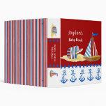Nautical Beach Sail Boat Toys Typography Style Vinyl Binders