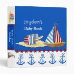 Nautical Beach Sail Boat Toys Typography Style Binder