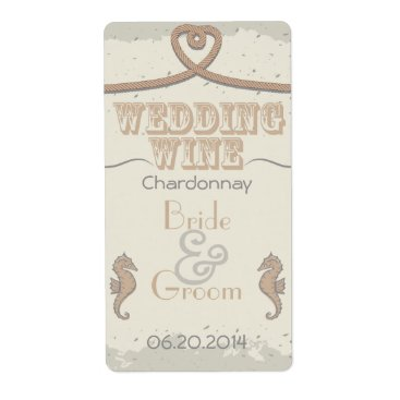 Beach Themed Nautical Beach Sand Brown Heart Knot Wedding Wine Label