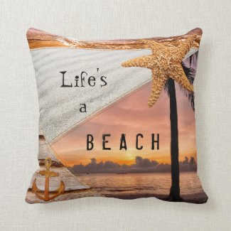 Nautical Beach Scrapbook Sunset Pillow