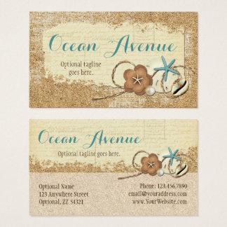 Nautical Beach Seashells & Sand Ocean Boutique Business Card