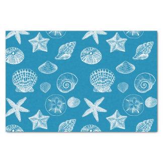 """Nautical Beach Shells Aqua White 10"""" X 15"""" Tissue Paper"""