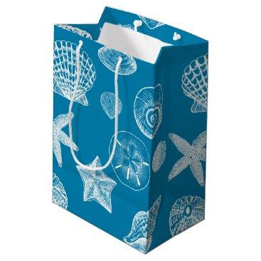 Beach Themed Nautical Beach Shells Aqua White Medium Gift Bag