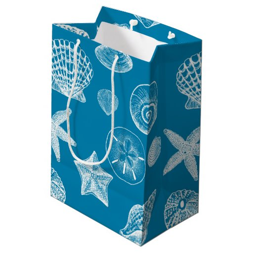 Nautical beach shells aqua white medium gift bag zazzle for Bag of seashells for crafts