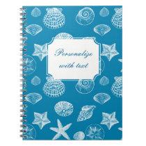 Nautical Beach Shells Aqua White Notebook