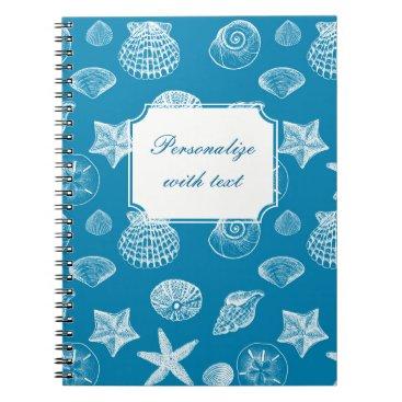 Beach Themed Nautical Beach Shells Aqua White Notebook