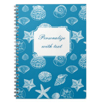 Nautical Beach Shells Aqua White Spiral Notebook