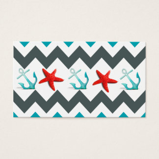Nautical Beach Theme Chevron Anchors Starfish Business Card
