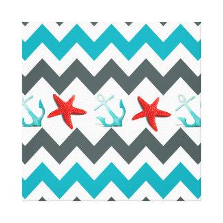 Nautical Beach Theme Chevron Anchors Starfish Stretched Canvas Prints