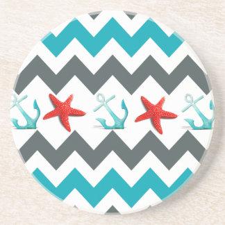 Nautical Beach Theme Chevron Anchors Starfish Coaster
