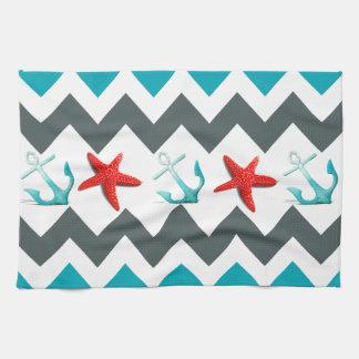 Nautical Beach Theme Chevron Anchors Starfish Hand Towel