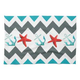 Nautical Beach Theme Chevron Anchors Starfish Towel