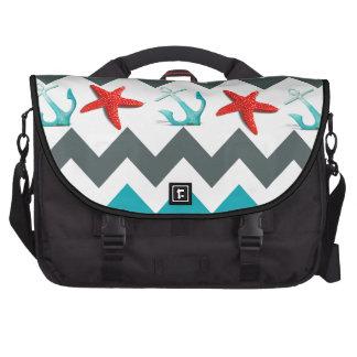 Nautical Beach Theme Chevron Anchors Starfish Bag For Laptop