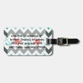 Nautical Beach Theme Chevron Anchors Starfish Luggage Tag