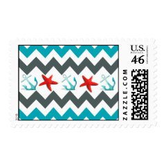 Nautical Beach Theme Chevron Anchors Starfish Postage Stamp