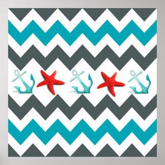 Nautical Beach Theme Chevron Anchors Starfish Poster