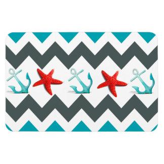 Nautical Beach Theme Chevron Anchors Starfish Flexible Magnets