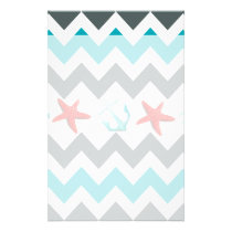 Nautical Beach Theme Chevron Anchors Starfish Stationery