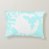 Nautical Beach Theme Crab and Seashell Pillow