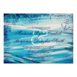 Nautical Beach Theme Ocean Blue Wedding Invitation