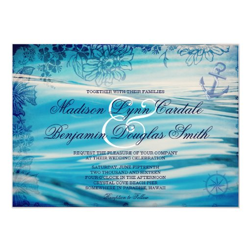 """Nautical Beach Theme Ocean Blue Wedding Invitation 4.5"""" X"""
