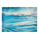 Nautical Beach Theme Ocean Blue Wedding RSVP Cards Custom Invite