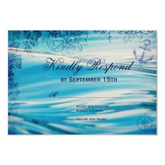 Nautical Beach Theme Ocean Blue Wedding RSVP Cards