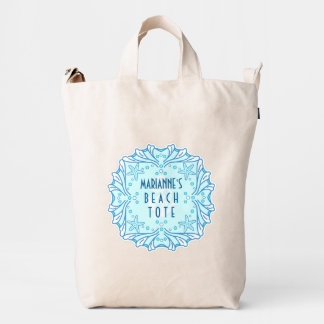 Nautical Beach Tote Personalized with Pretty Shell Duck Bag