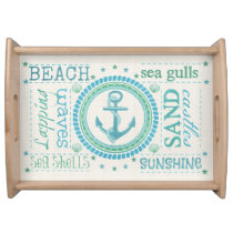 Nautical Beach Typography Chevron Pattern Tray